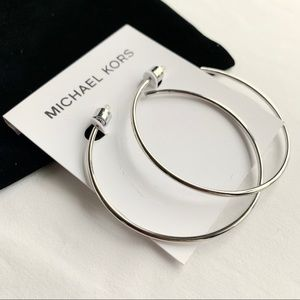 Michael Kors Jewelry - NWT authentic MK Silver tone large hoop earrings